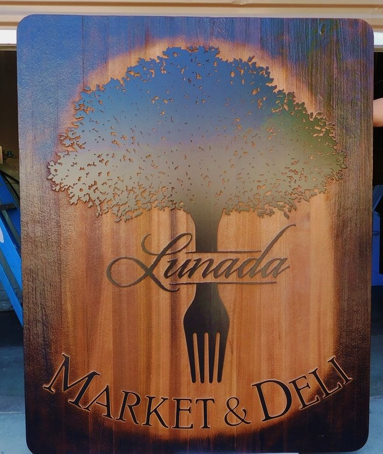 Q25642 - Variegated Cedar Sign With Burn-Out Edges and Fork and Tree Design for Market Deli (Delicatessen)