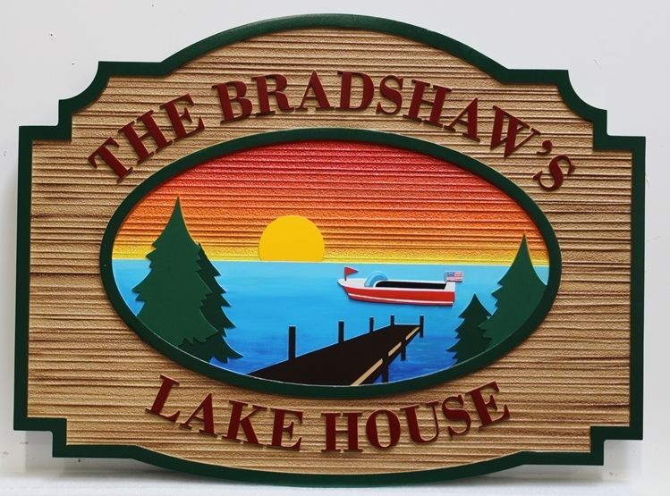 "M22386 - Carved and Sandblasted Wood Grain  sign ""The Bradshaws Lake House"" , with a Sunset Scene of Trees, a Lake, a Dock, and a Boat"