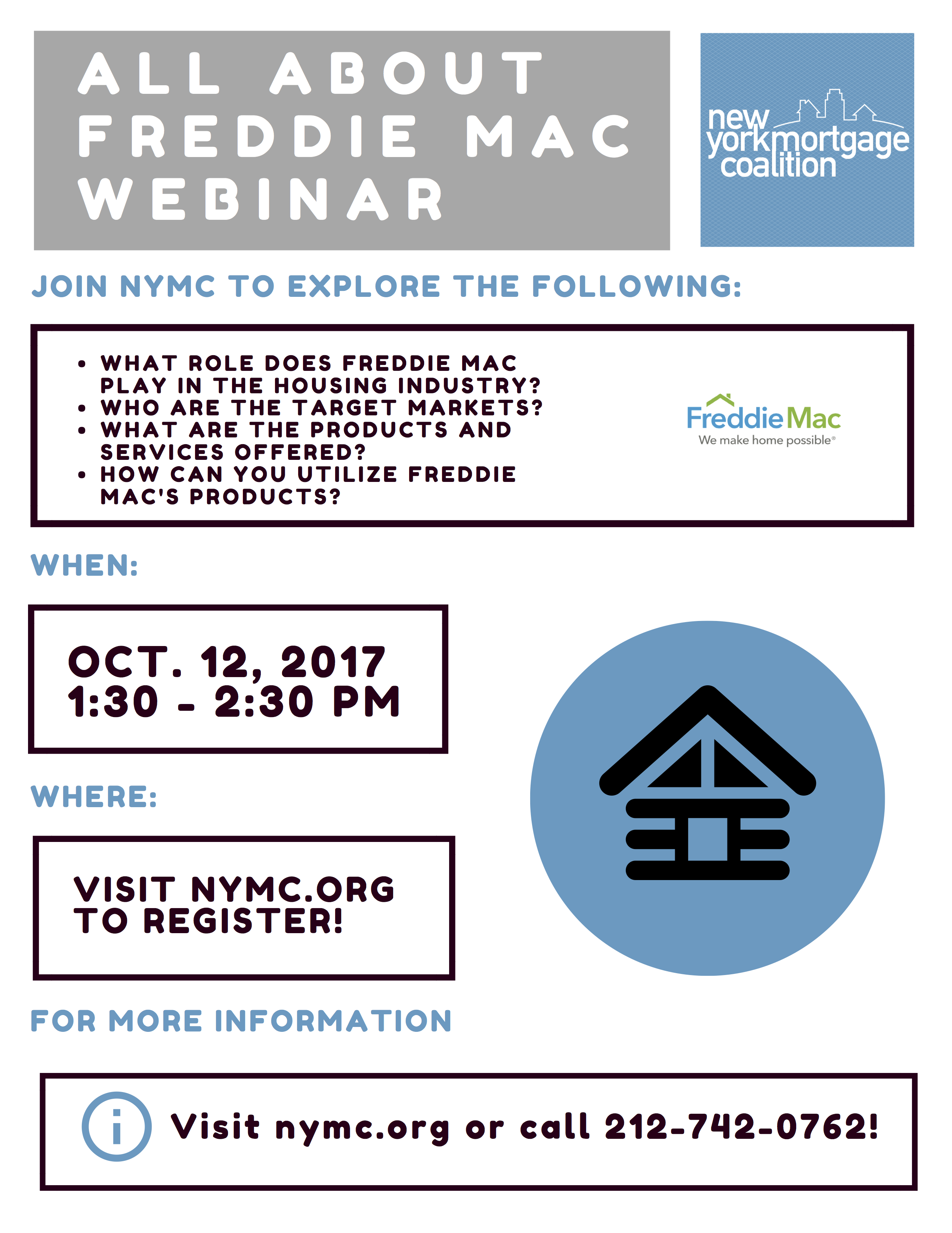 Join NYMC For An Informational Webinar All About Freddie Mac on October 12