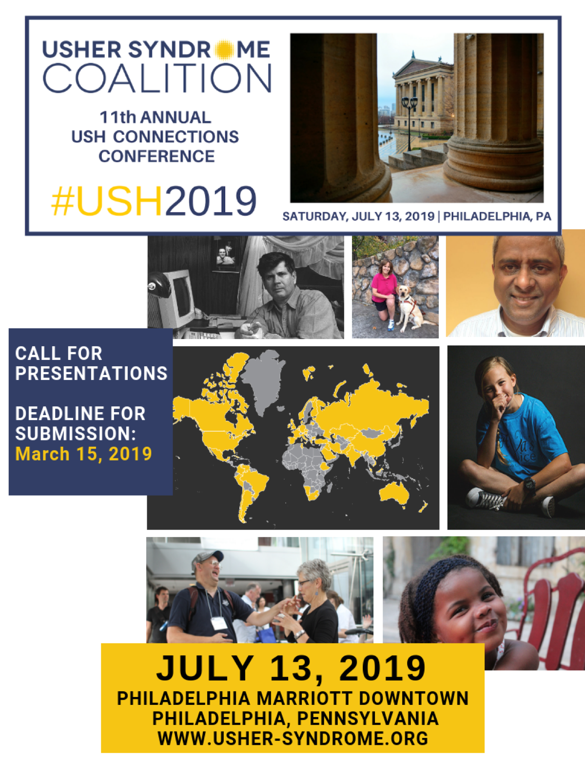 Cover Image for USH2019 Call for Presentations Form: Usher Syndrome Coalition 11th Annual USH Connections Conference, #USH2019, Saturday, July 13, 2019, Philadelphia, PA, Call for Presentations Deadline for Submission: March 15, 2019