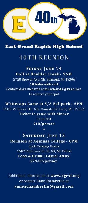 Class of 1979 - 40th Reunion Reservation