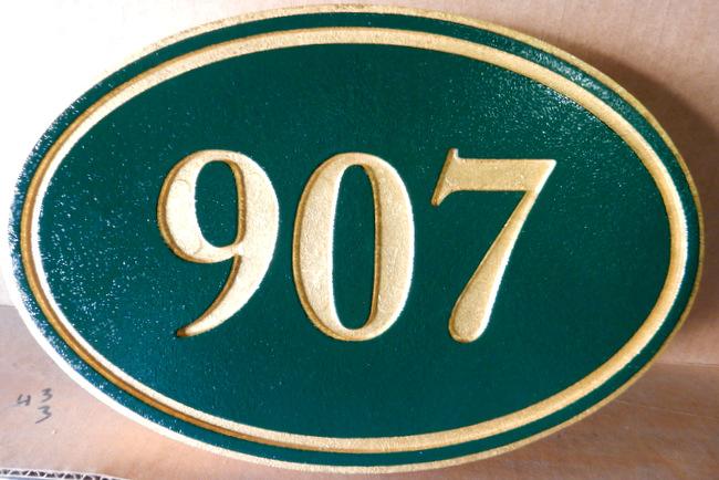 I18885 - Elliptical Engraved Address Number Plaque