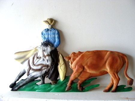 O24304 -  3-D Bas-Relief HDU Applique  (Cowboy on Cutting Horse with Steer)  for Ranch Sign