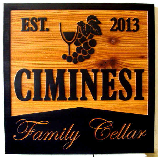 "R27036 - Carved and Sandblasted Cedar Wall Plaque for Family Wine Cellar, ""EST. 2013"" with Wine Glass and Grape Cluster"
