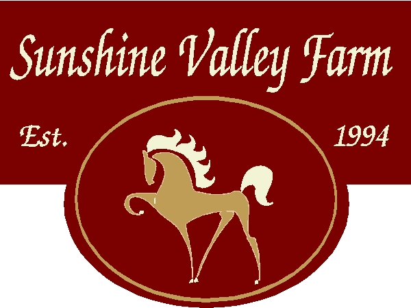 P25206 - Carved HDU Entrance Sign for Sunshine Valley Form, with Stylized Profile of Dressage Horse
