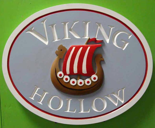 "I18710 -  Property Name Sign ""Viking Hollow', with 3D Carved Longship"