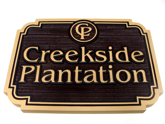 GA16541 - Sandblasted, Carved HDU Sign for Plantation with Carved Logo