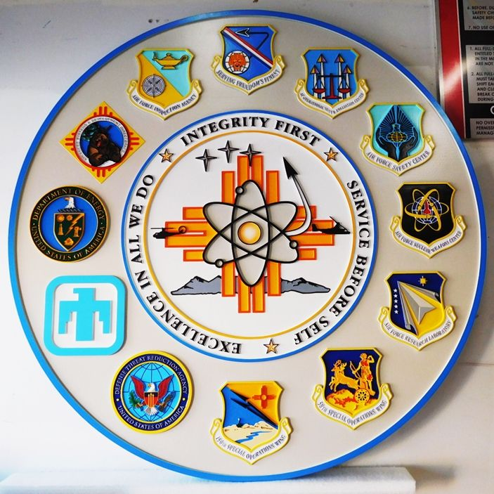 LP-1835 -  Plaque for Kirtland Air Force Base in New Mexico, with Crests of AF Units, Artist Painted