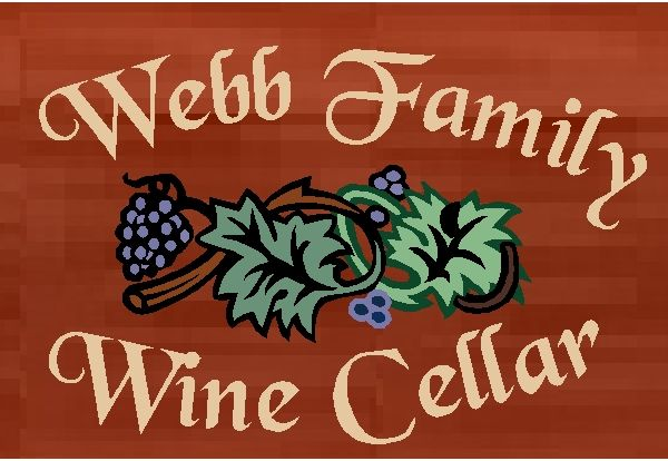 R27380 - Rustic Engraved Redwood Plaque for Home Wine Cellar