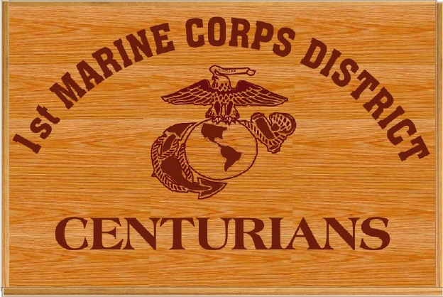KP-2500 -  Carved Plaque, 1st Marine Corps District, Centurians, Red Oak Wood