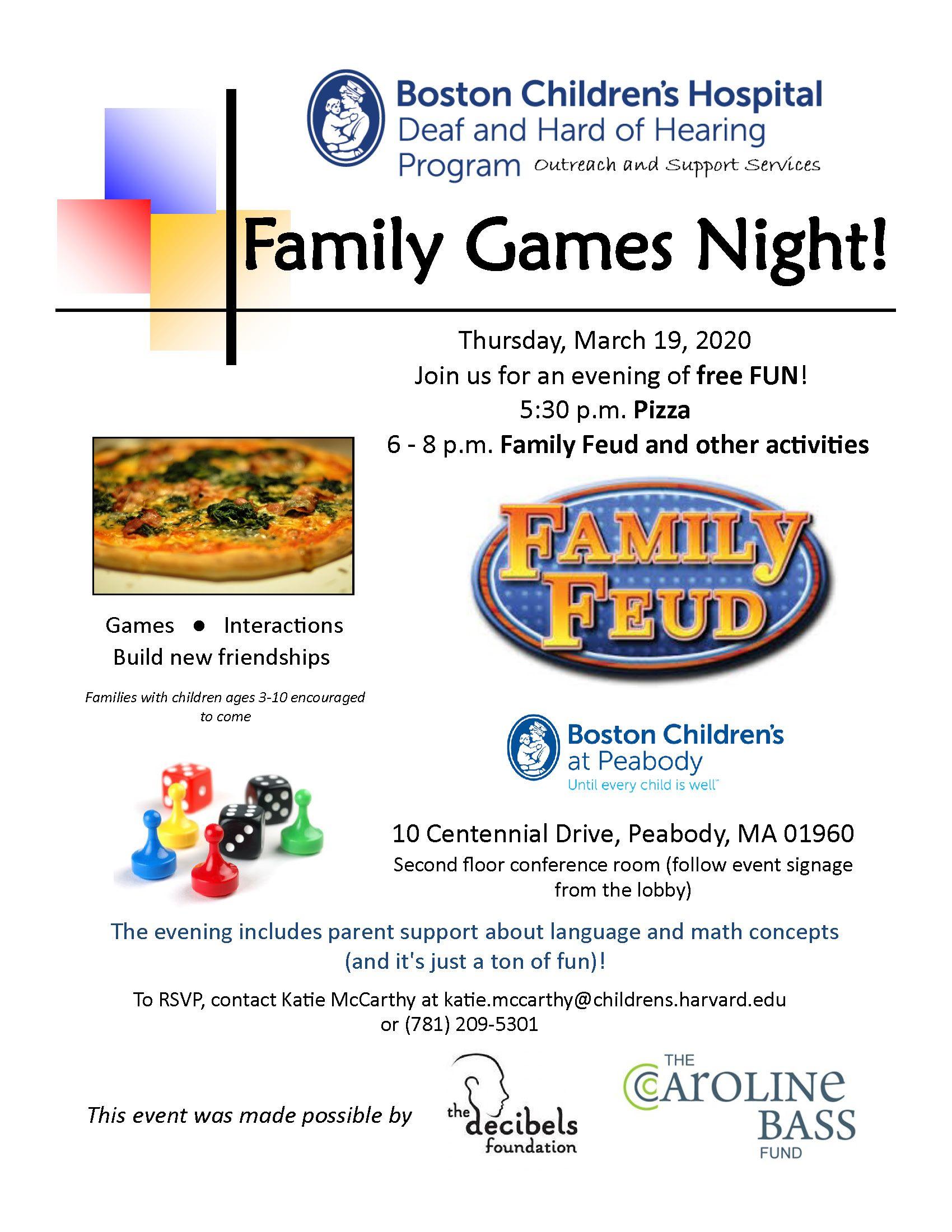 CANCELLED Family Games Night Peabody Boston Children's
