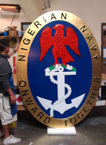 V31997 - Large Carved Wall Plaque for the Nigerian Navy, with 24K Gold Leaf Border