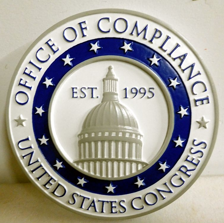 AP-2100 -  Carved Plaque of the Seal of the US Congress Office of Compliance, Artist Painted