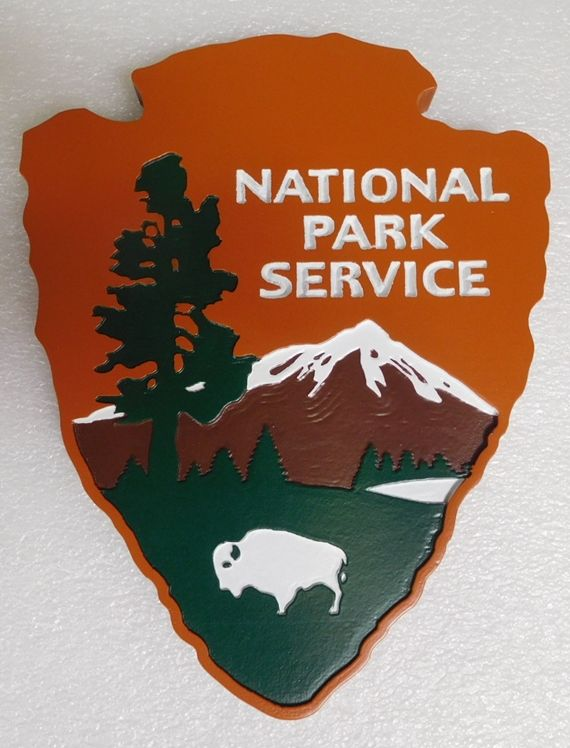"WP5012- National Park Service ""Arrow"" Plaque, Engraved Cedar, Painted"