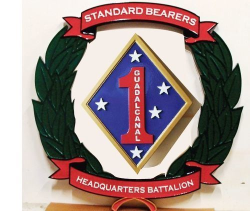 KP-2020 -  Carved Plaque of  the Insignia of the First Marine Division at Camp Pendleton, Artist Painted