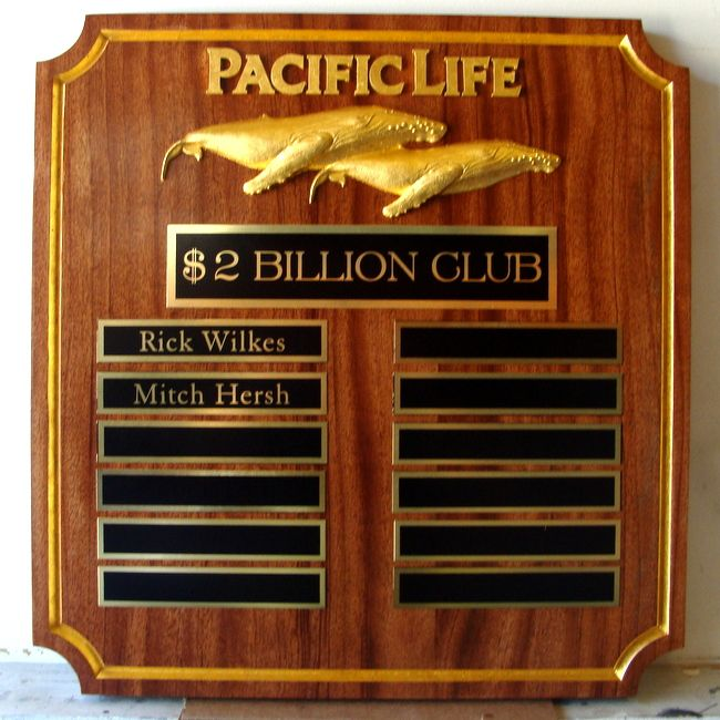 M7343 - Mahogany Wall Plaque for $2 Billion Club of Pacific Life, with Golf-Leaf Gilded Text and 3D Carved Whale Artwork.