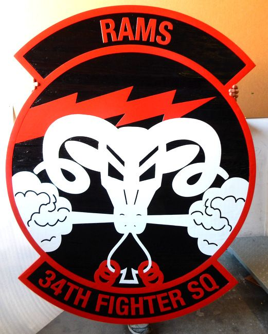 """LP-2440 - Carved Round Plaque of the Crest of the 34th Fighter Squadron """"Rams"""",  Artist Painted"""