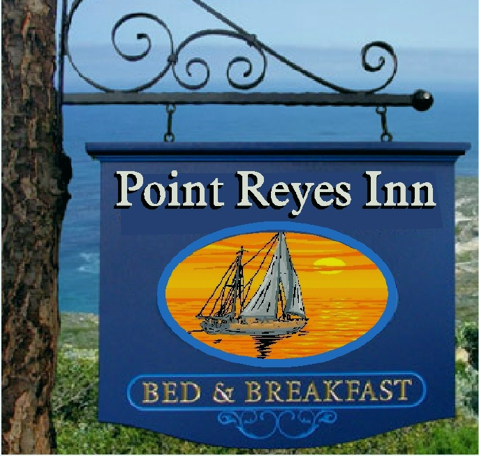 "L21266 - Carved Sign for ""Point Reyes Inn"",  with Sailboat at Twilight"