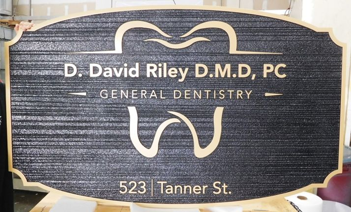 "BA11606 -  Carved and Sandblasted Wood Grain 2.5-D  Sign for the Dental Office of ""D. David Riley, D.M.D., PC"""