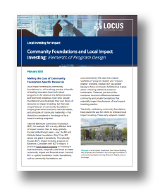 Session 1: Community Foundations and Local Impact Investing - Elements of Program Design