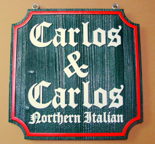 Q25212 - Carved Wood Restaurant Sign for Northern Italian Cuisine