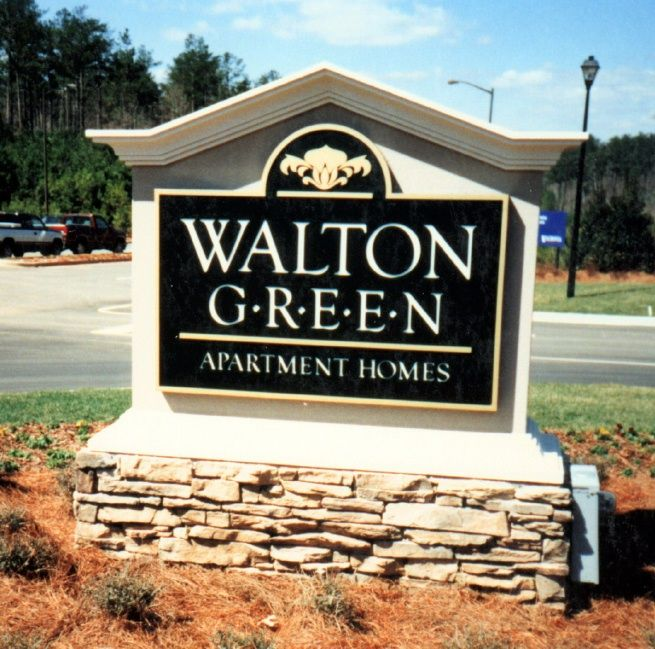 "K20065 - EPS Monument Entrance Sign for ""Walton Green"" Apartment Homes, with Greek-Style Top Arch"