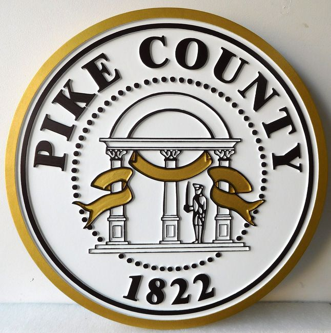 CP-1440 - Carved Plaque of the Seal of Pike County, Georgia,  Artist Painted