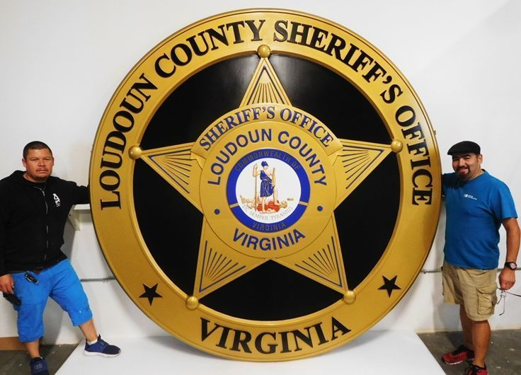 X33592 -  Large Carved 3-D  HDU Outdoor Plaque (10 ft Diameter) of the badge of the Loudoun County Sheriff's Office