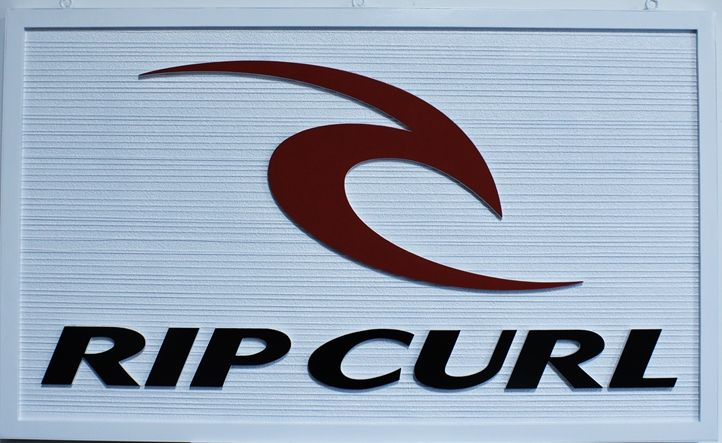 """S28138 - Carved and Sandblasted Wood Grain  Sign for the """"Rip Curl""""Company."""