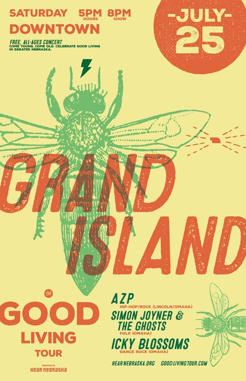 Icky Blossoms, Simon Joyner & The Ghosts, and AZP to close the Good Living Tour in Grand Island, July 25