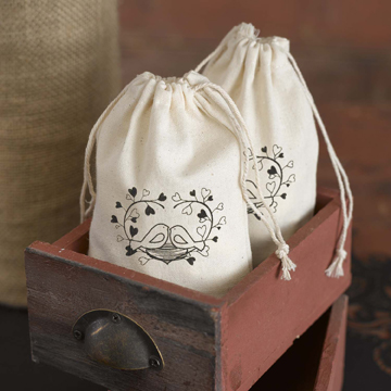 Cotton Favor Bags  - Love Birds