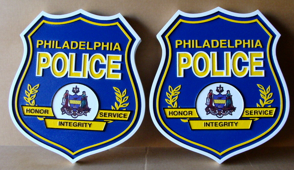 X33464 - Two 2.5-D Carved HDU Shield Wall Plaques for Philedelphia Police Deparment