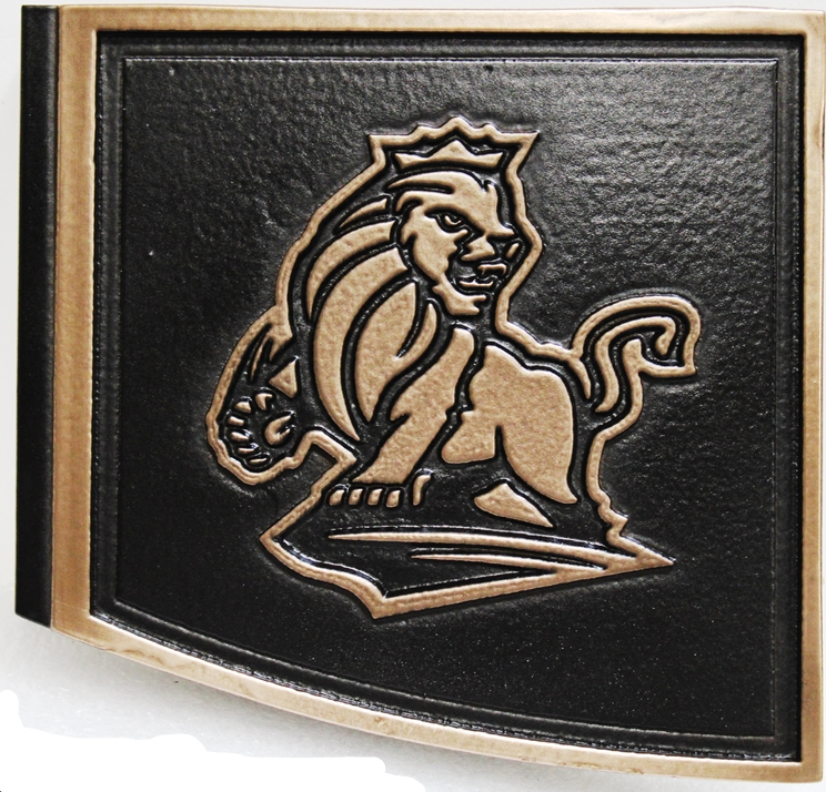 XP-3535 - Carved 2.5-D Raised Relief HDU Plaque of an Emblem with  a Stylized Lion as Artwork
