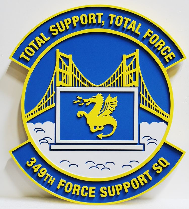 """LP-4010  - Carved Wall Plaque of the Crest of theAir Force's 349th Force Support Squadron, with motto """"Total Support, Total Force"""""""