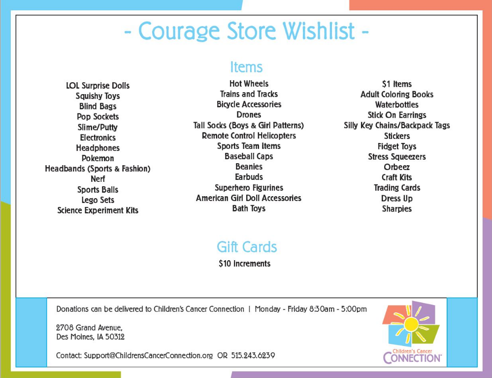 Courage Store Wish List