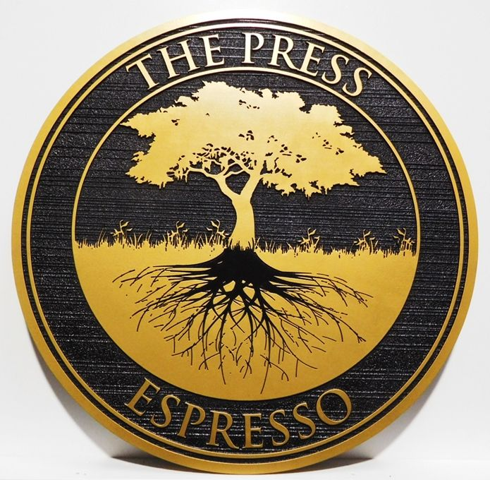 "Q25414 - Carved  Sign for ""THE PRESS EXPRESSO""   with  Raised Artwork, a Tree with Roots"