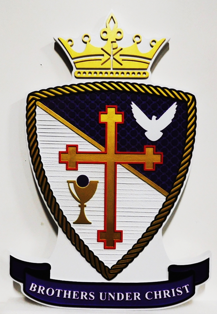 """D13136 - Plaque of the Crest of the """"Brothers of Christ""""  Fraternity, 2.5-D with Shoeld, Cross and Crown as Artwork"""