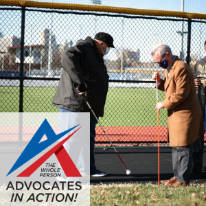 Photo of Darrin Sherman and 1 other man installing tactile marker on walking track.  Advocates in Action logo