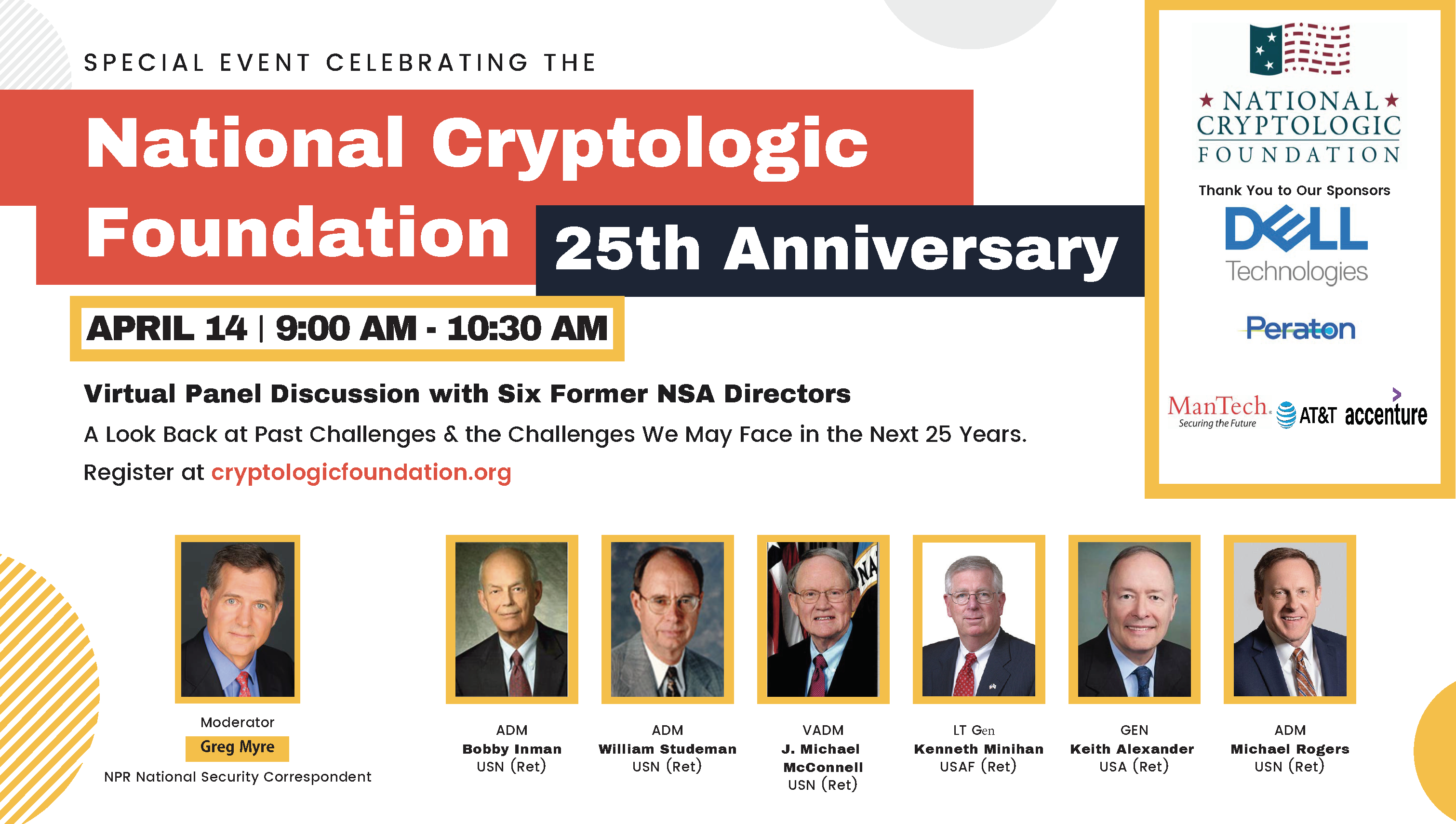 25th Anniversary Kick-Off: Virtual Panel Discussion with Six Former NSA Directors
