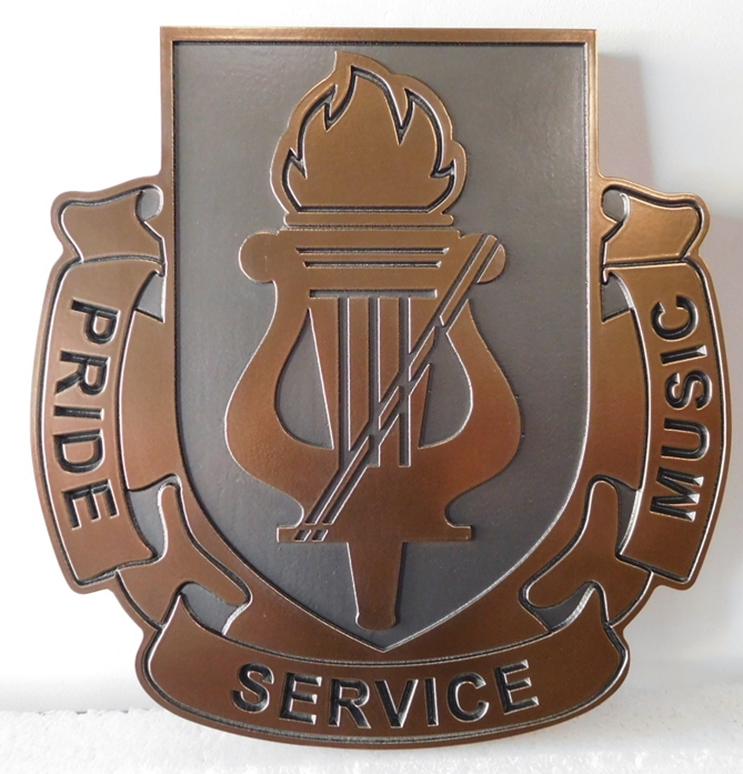 """MP-2610 - Carved Plaque Crest/Insignia of a US Army Unit with Logo """"Pride, Service, Music"""", 2,5D Bronze Plated"""