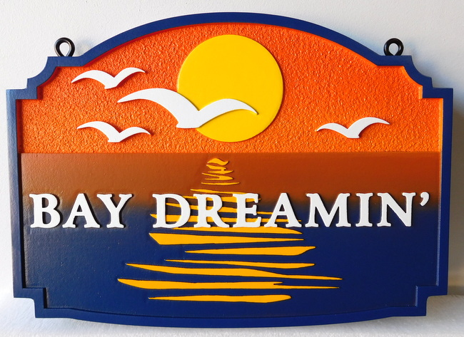"L21203 - Seashore Home Property Name Sign ""Bay Dreaming""  with Setting Sun and Seagulls"