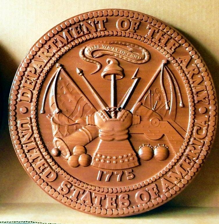 MP-1080 - Carved Plaque of the Great Seal of the US Army (USA), Cedar Wood