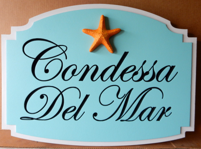 "L21506 - Property Name Sign ""Condessa del Mar"" with Starfish"