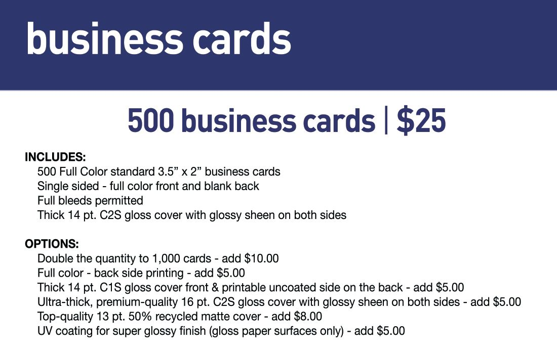 SBB Business Cards- Std lead time 5-7 business days
