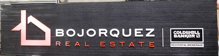 C12485 -  Carved and Sandblasted HDU Sign for Bojorquez  Real Estate Firm Sign, Raised Text, Art and Border and Wood Grain Background