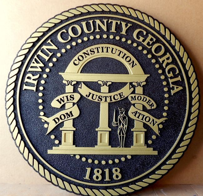 X33351 - Carve 2.5-D HDU Plaque of the Seal of Irwin County, Georgia