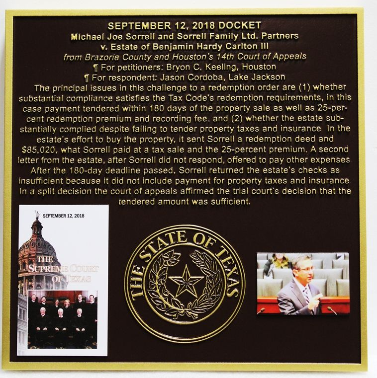 HP-1450 - Plaque Describing Civil Case Decided by the Supreme Court of the State of Texas