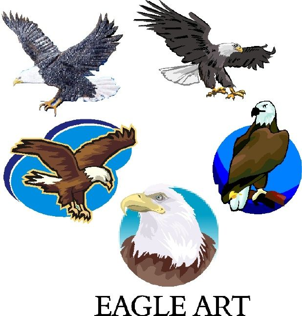 M22740 - 3-D Carved  Artwork for Signs: Bald Eagles Resting and in Flight