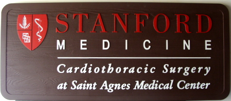 B11030 - Carved HDU Cardiothoracic Surgery Medical Office Sign with Carved Raised Emblem