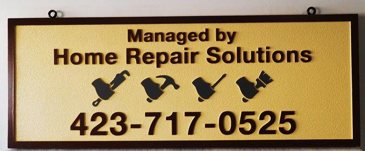 "SA28816 - Carved and Dandblasted Hanging Sign  for the ""Home Repair Solutions"" Business, 2.5-D Artist-Painted"